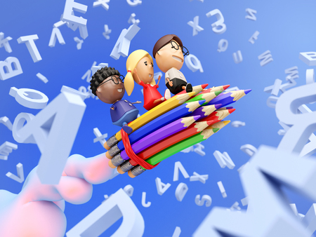 Funny school kids on a rocket made from pencils fly through the letters. Education concept. 3D illustration.