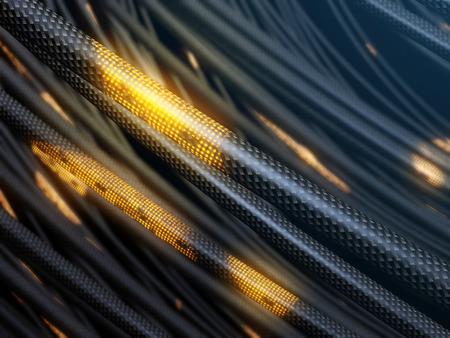 Futuristic optical fiber cable, data transfer process. 3d illustration. Stock fotó