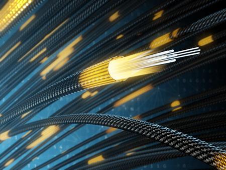 Lumière du câble à fibre optique. Illustration 3D. Banque d'images
