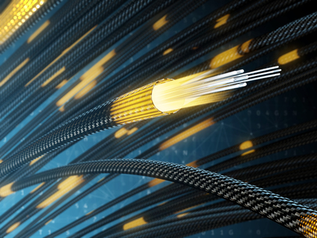 Light from fiber optic cable. 3d illustration.