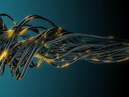 Bundle of network cables during data transmission. 3d illustration.