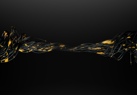 Futuristic concept of optic fiber cables on black background. 3d illustration.
