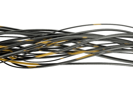 Glowing optic fiber cables isolated on white background. 3d illustration.