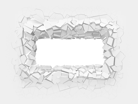 Broken white wall with a rectangle hole in the center. 3d illustration.
