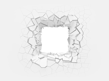 Broken white wall with a square hole in the center. 3d illustration.