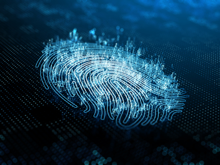 A computer identify and measuring the fingerprint on the digital surface. 3d illustration. Stock fotó