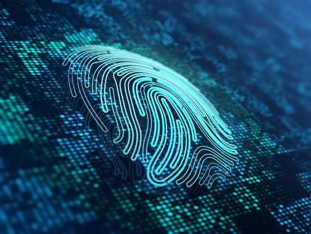 Fingerprint on the digital surface. 3d illustration.