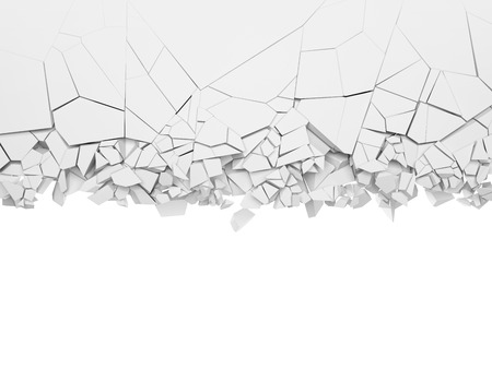 Broken white wall with empty space on below. 3d illustration.