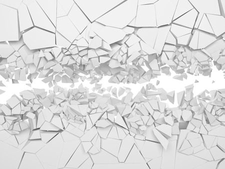 Broken white wall. 3d illustration.