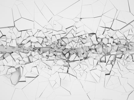 Broken white wall. 3d illustration.