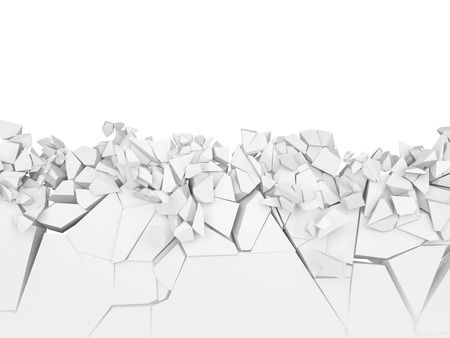 Broken wall with isolated white copy space on top. 3d illustration. Фото со стока