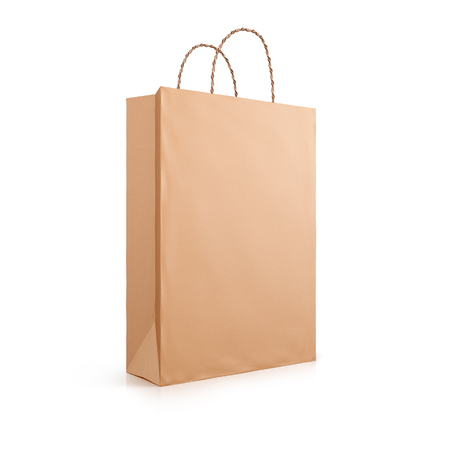 Brown paper bag with handles rope isolated on white background. 3d illustration. Stock Photo