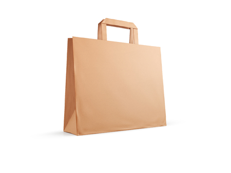 Craft paper bag isolated on white background. 3d illustration. Фото со стока