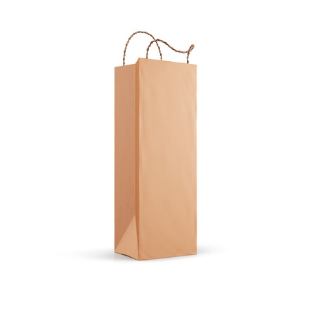 Brown paper bag for wine isolated on white background. 3d illustration.