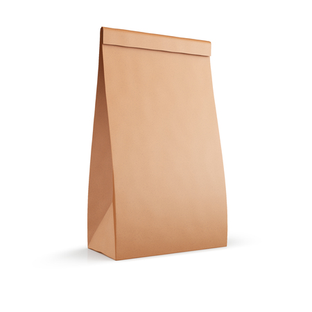 Brown paper pouch bag isolated on white background. 3d illustration.