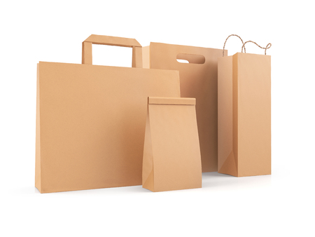 Blank shopping bags, brown paper packages, identity branding mockup set. 3D illustration isolated on white background.