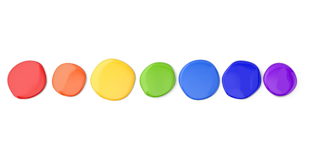 Set of colorful round stains on white background. 3D illustration.