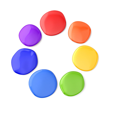 Color round spots of paint on white background. Abstract color wheel. 3D illustration. Фото со стока