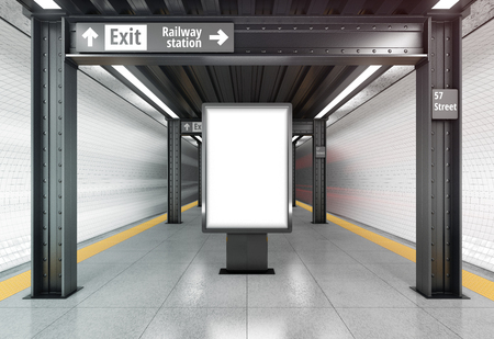 Blank vertical poster billboard on the metro station. 3D rendering.