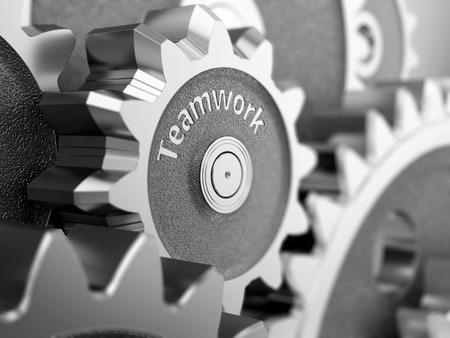 Teamwork concept, gear wheels close-up. 3d illustration.