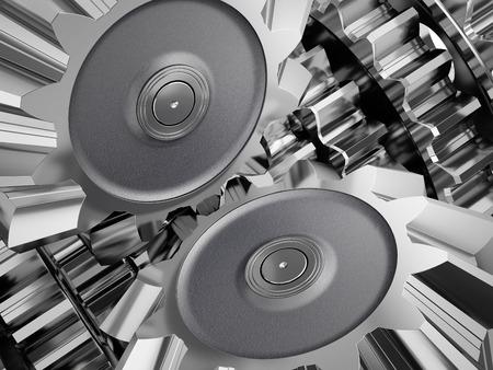 Steel gear wheels in a engine. 3d illustration. Banco de Imagens