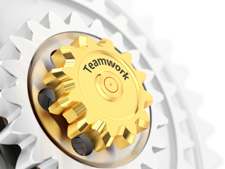 Teamwork concept, gold gear wheel close-up. 3d illustration.