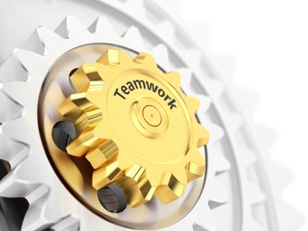 Teamwork concept, gold gear wheel close-up. 3d illustration.