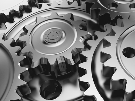 Steel gear wheels in a engine. 3d illustration. Stock Photo