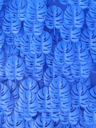 Tropical Monstera leaves, blue background. 3D illustration.