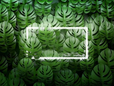 Square frame on tropical leaves background. 3D illustration.