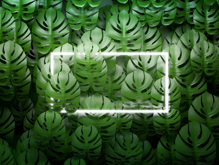 Square frame on tropical leaves background. 3D illustration.