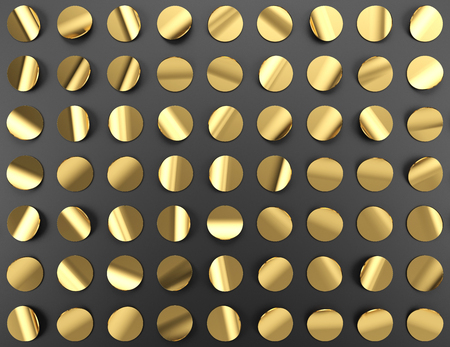 Gold confetti on black background, 3d illustration.