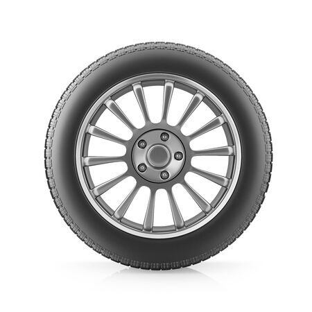 Car tire and wheel on white background, front view. 3d render