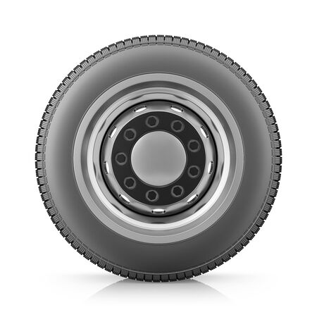 Truck wheel with new tire on white background. 3d render.