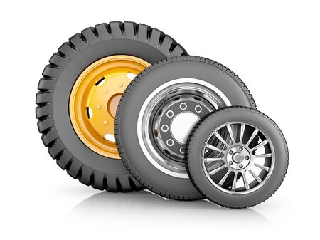 Vehicle tires and wheels on white background. Car parts for agricultural machinery and trucks . 3d render.