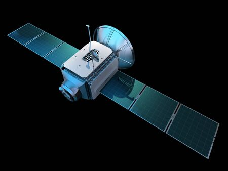 Communications satellite isolated on black. 3D illustration.