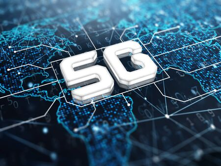 5g sign on digital background. 3d render. Stock Photo