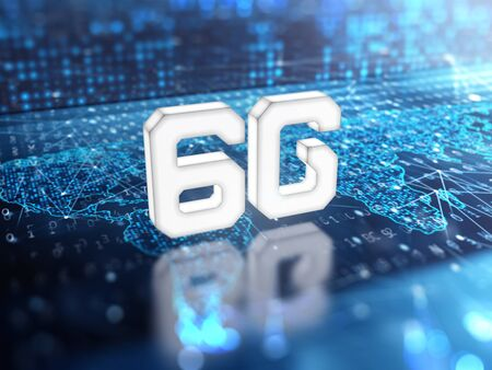 6g sign on digital world map. 3d render.