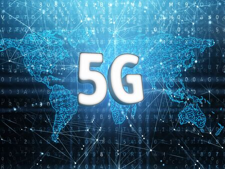 5g sign on digital world map. 3d render.