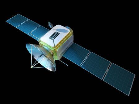 Communications satellite isolated on black. 3D illustration.