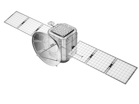 Technical drawing of futuristic satellite on white background. 3D illustration.