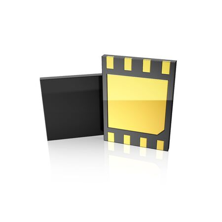 eSim card,  front view and blank rear side ready for your design. 3d illustration. Фото со стока