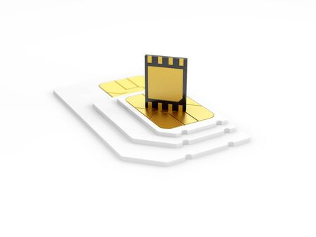 eSIM card standing on old generation SIM card. 3d illustration. Banco de Imagens - 128329714