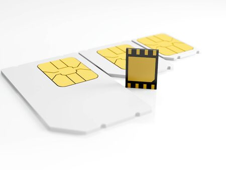 eSIM card standing on old generation SIM card. 3d illustration. Stock Photo