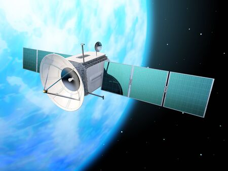Space communications satellite orbiting Earth. New global internet technology. 3D illustration.