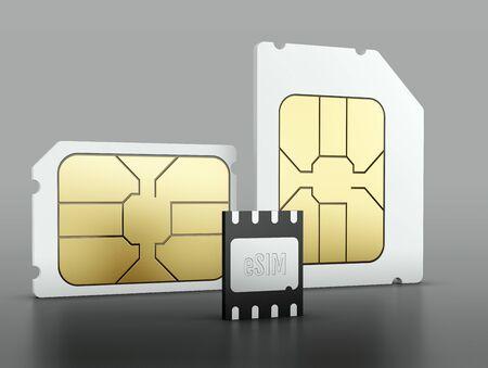 eSIM embedded SIM card on gray background. 3d illustration.
