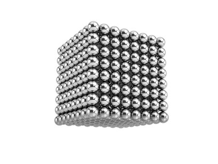 Abstract cube consist of steel balls. 3d render.