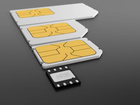 GSMA embedded SIM card, eSIM. 3d illustration. Фото со стока