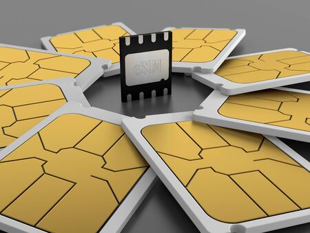 eSIM card, GSMA Embedded SIM. 3d illustration.