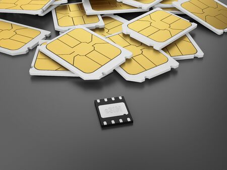 Many SIM cards and one embedded SIM on gray background. eSIM, 3D illustration.